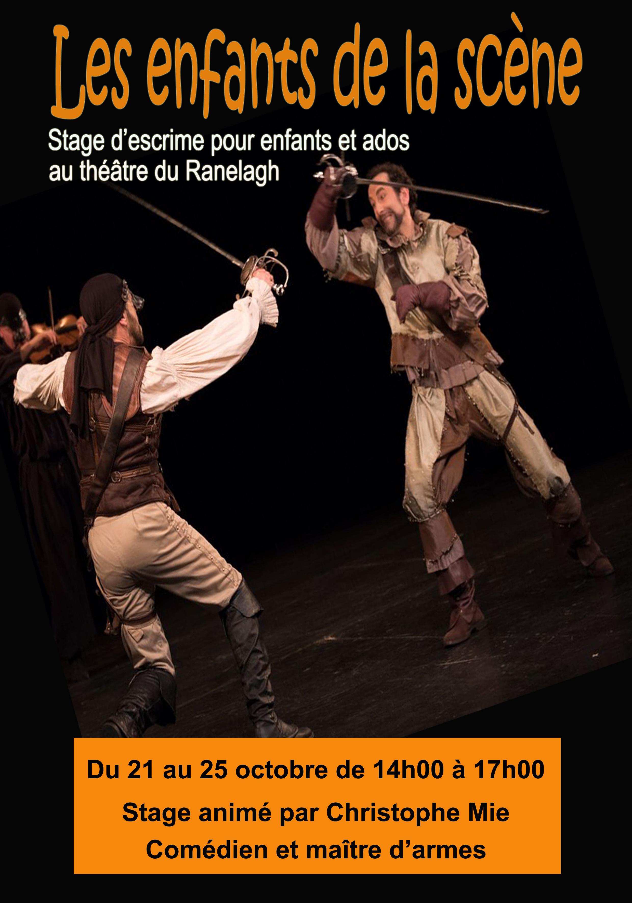 Stage théâtre escrime spectacle Paris 16